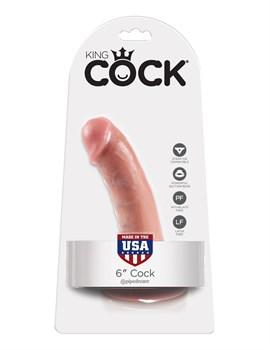 Телесный фаллоимитатор 6  Cock на присоске - 15,2 см.