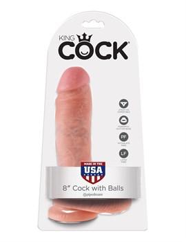 Телесный фаллоимитатор 8  Cock with Balls - 21,3 см.