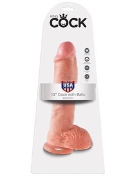 Большой фаллоимитатор с мошонкой 10  Cock with Balls на присоске - 25,4 см.