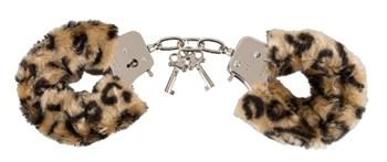 Леопардовые меховые наручники Love Cuffs Leo