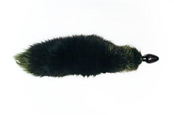 Анальная пробка чёрного цвета с зеленым лисьим хвостом