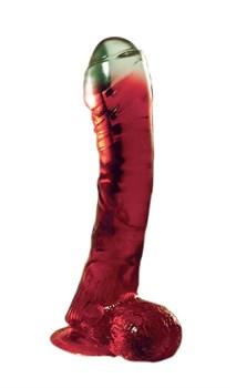 Красный фаллоимитатор на присоске LAZY BUTTCOCK  - 17 см.