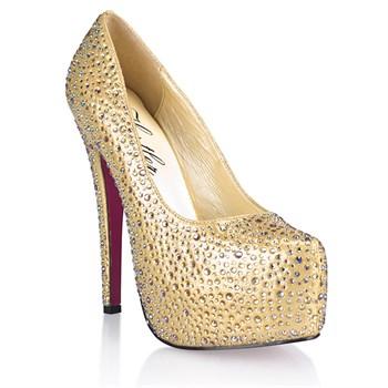Золотистые туфли с кристаллами Golden Diamond