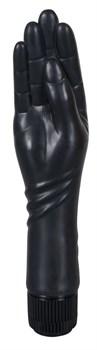 Чёрный вибромассажер-рука для фистинга - 25 см.