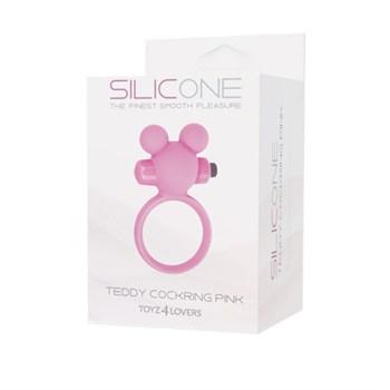 Розовое эрекционное виброкольцо TEDDY COCKRING SILICONE