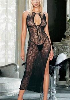 Длинное полупрозрачное платье с узором в виде волн