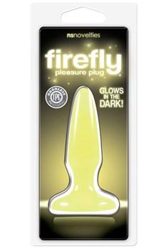 Желтая анальная пробка, светящаяся в темноте, Firefly Pleasure Plug Mini - 8,1 см.
