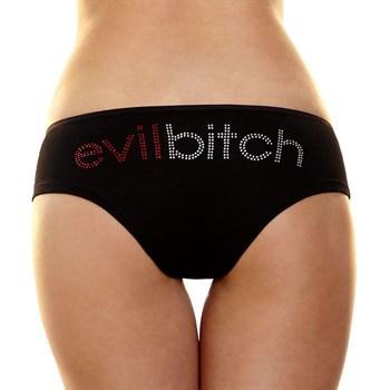 Трусики-слип с надписью стразами Evil bitch