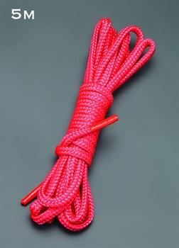 Красная шелковистая веревка для связывания - 5 м.