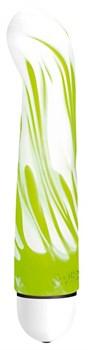 Бело-зелёный вибратор Flick-Flac Comfort - 17,8 см.
