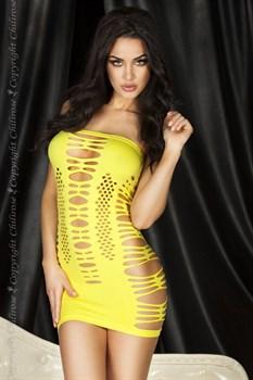 Ажурное неоновое платье без бретелей