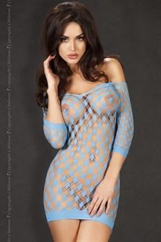 Миниплатье в крупную сетку с рукавом  три четверти