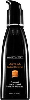 Лубрикант с ароматом соленой карамели Wicked Aqua Salted Caramel - 60 мл.