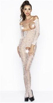 Комбинезон с длинными рукавами, цветочным узором, открытой грудью и доступом