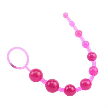 Розовая анальная цепочка с колечком Sassy Anal Beads - 26,7 см.