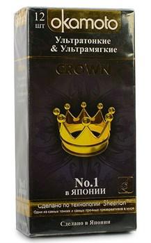 Ультратонкие ультрамякие презервативы телесного цвета Okamoto Crown - 12 шт.