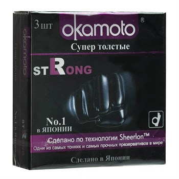 Супер прочные презервативы чёрного цвета Okamoto Strong - 3 шт.