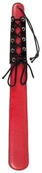 Широкая красная шлепалка в чёрной оплётке - 42 см.