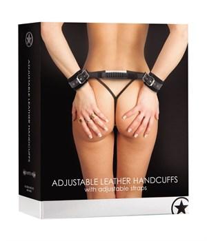 Регулируемые черные кожаные наручники с распоркой