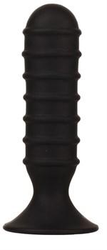 Чёрный силиконовый анальный массажер MENZSTUFF RIBBED TORPEDO DONG - 13 см.
