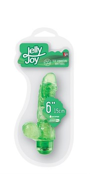 Зелёный гелевый вибраторJELLY JOY 6INCH 10 RHYTHMS GREEN - 15 см.