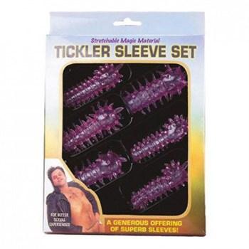 Набор из 6 розовых закрытых насадок с шипами TICKLER JELLY SLEEVE SET