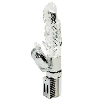 Прозрачный вибромассажёр с клиторальным отростком - 16 см.