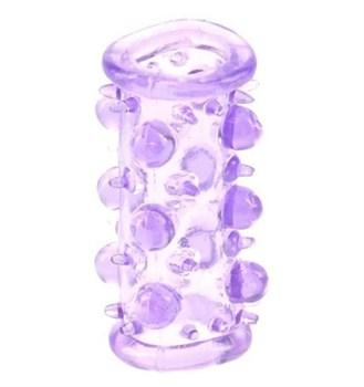 Фиолетовая насадка с шариками и шипами LUST CLUSTER
