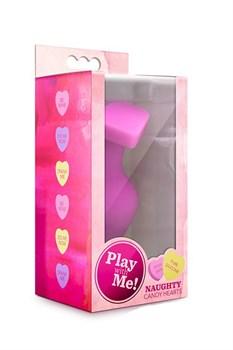 Розовая анальная пробка с основанием-сердечком CANDY HEART BE MINE - 8 см.