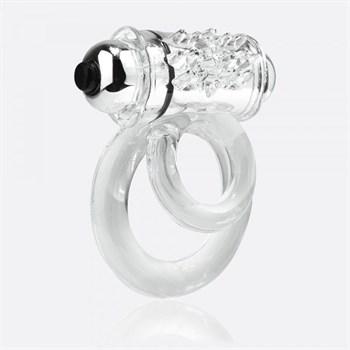 Прозрачное эрекционное кольцо с шишечками и подхватом мошонки DOUBLE O 6 CLEAR