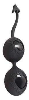 Чёрные вагинальные шарики с сердечками BLACK VELVETS