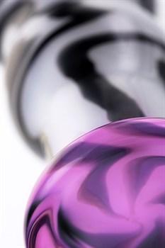 Белая анальная пробка из стекла с чёрными полосами - 12,5 см.