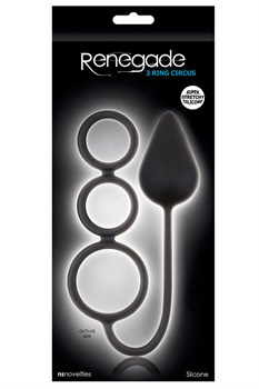 Чёрная анальная пробка Renegade 3 Ring Circus Large Black с эрекционными кольцами