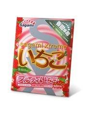 Презерватив Sagami Xtreme Strawberry c ароматом клубники - 1 шт.