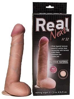 Большой фаллоимитатор из неоскин на присоске REAL Next №32 - 24,5 см.