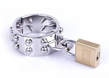 Кольцо фиксатор на пенис для любителей проколов Cylinder Spikes L