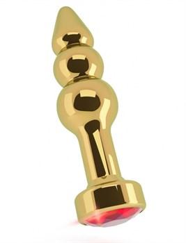 Золотистая анальная пробка-ёлочка с красным кристаллом - 11,5 см.