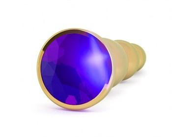 Золотистая анальная пробка-ёлочка с фиолетовым кристаллом - 14 см.