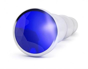 Серебристая анальная пробка-ёлочка с фиолетовым кристаллом - 14 см.