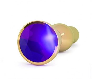 Золотистая анальная пробка с фиолетовым кристаллом - 14 см.