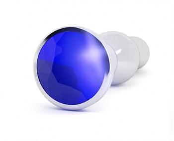 Серебристая анальная пробка с фиолетовым кристаллом - 14 см.
