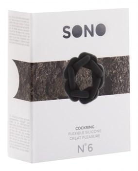 Чёрное эрекционное кольцо SONO №6