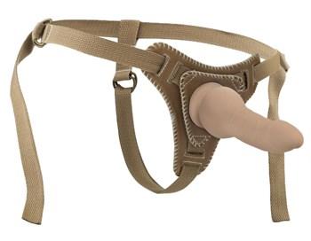 Бежевый фаллос на кожаных трусиках - 15 см.