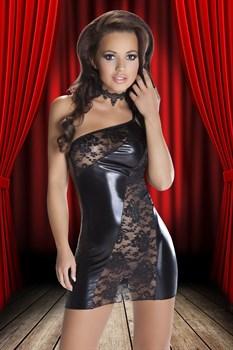Смелое платье Sila из кружев и ткани с wet-эффектом