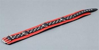 Красно-чёрный ошейник на мягкой подкладке