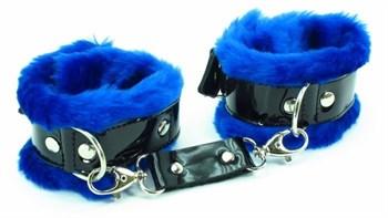 Синие наручники с мехом BDSM Light