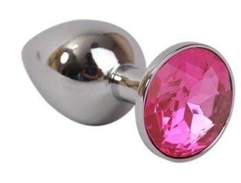 Серебряная металлическая анальная пробка с розовым стразиком - 7,6 см.