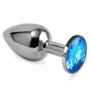 Серебряная металлическая анальная пробка с голубым стразиком - 7,6 см.