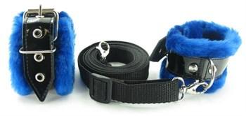 Набор на кровать с синим мехом BDSM Light