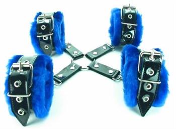 Набор фиксаторов с синим мехом BDSM Light
